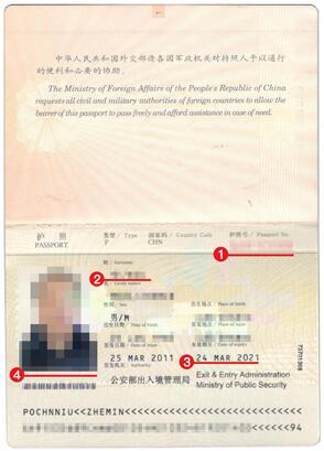 新加坡签证材料护照模板